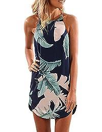 Femmes Sexy Spaghetti Strap Robe Courte Fille Florale Robe d été Imprimée 50d49d47a6a2