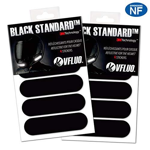 VFLUO BLACK STANDARDTM, (Pacco da 2) Kit 4 adesivi rifrangenti/riflettenti per casco moto, Visibilità di notte, 3M TechnologyTM, Nero