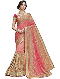 SareeShop Women's Georgette Embroidered Saree With Blouse Piece(2413-SAREE01_Pink_COLOUR)