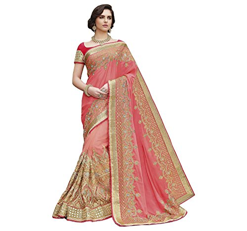 Indian E Fashion Women's Pink Georgette & Net Material Partywear Saree With...