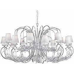 tredici Diseño Murano cristal araña de cristal/Murano cristal Cristallo–En hojas plata | hecho a mano en Italia