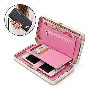 Women's Leather Wallet, Charminer Phone Case Cover With Card Slots, Wallet for Women Diamond High Heels Pattern Multifuntionale Smartphone Wristlet iPhone 7/7plus/6S Case