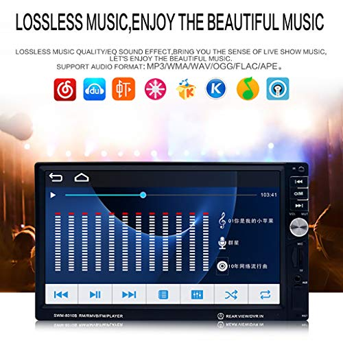 Sixcup 7 Zoll HD Touchscreen Autoradio Stereo,BT Autos Audio Player Video/Lenkradsteuerung Rückfahrkamera Unterstützung für MP3 / MP5 / USB/AUX/FM/SD mit Fernbedienung (Black)