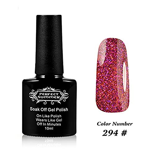 Perfect Summer 10ml Gel Nagellack schnell trocknend Glitter Schneeflocken Farben nett UV / LED-Nagellacke traenken weg #294