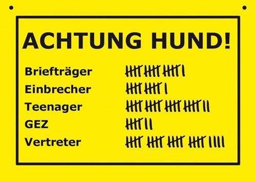 Postkarte Kunststoff +++ VERBOTENE SCHILDER von modern times +++ ACHTUNG HUND +++ ARTCONCEPT VERBOTENE SCHILDER