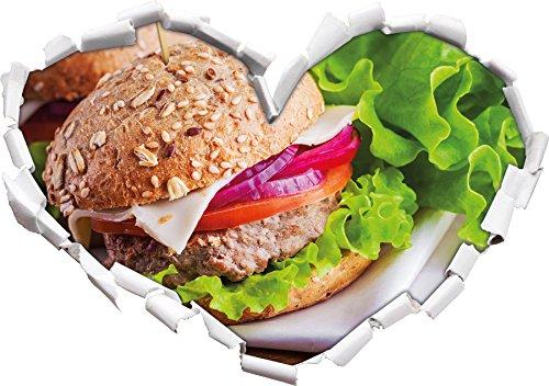 a forma di cuore Delicious Hamburger nel formato adesivo aspetto, parete o una porta 3D: 92x64.5cm, autoadesivi della parete, decalcomanie della parete, Wanddekoratio