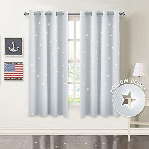 PONYDANCE Sterne Verdunkelungsvorhänge mit Ösen 158 x 132 cm (H x B), Grau-weiß 1 Paar Flackern Vorhänge Blickdicht Gardine für Baby, Kinderzimmer Vorhang, Thermo - Baby-mädchen-kinderzimmer-fenster-vorhang