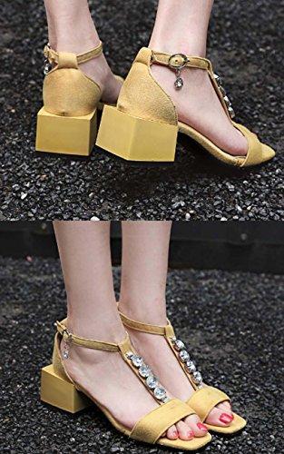 NobS Ankle Strap Mules fibbia quadrata Tacco Mary Jane Donne Sandali Large Size 32-43 Scarpe Suede Retro estive Yellow