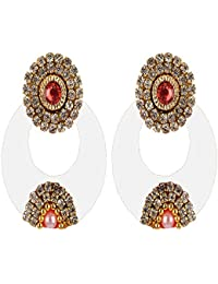 Hot Selling Silk Thread Chandbali Earrings With White Stone For Women - Green, Pink, Red, Purple, Violet, Orange...