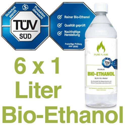 6 x 1L Bioethanol 96,6{ab39ec7bac0caa0722fb2607716ebc841eb772e16c5812f76d0b42476fc38288} - 6 Liter in 1L Flaschen zum handlichen & sicheren Gebrauch - TÜV geprüfte Reinheit, Qualität, Sicherheit & nachhaltige Herstellung - Made in Germany - AKTIONSPREIS NUR 2,48 EUR/L. !!!