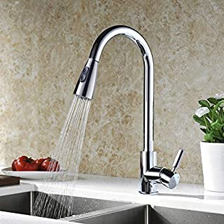 DELLE ROSA Chrome 304 Stainless Steel with Solid Brass Modern Commercial Single Handle Single Hole Pull Down Sprayer Kitchen Tap,Swivel Sprayer Mixer Tap Provided Delle Rosa