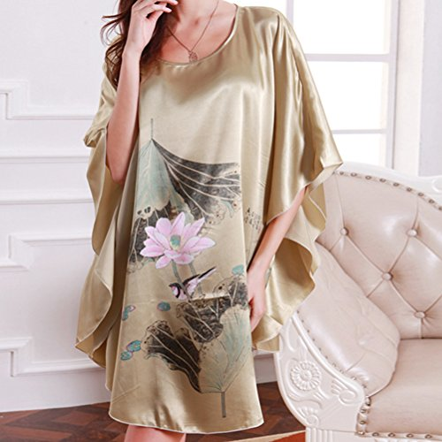 Zhhlinyuan Fashion Women's Slip Nightgown Satin Nightdress Lingerie Babydoll Chemise Nightwear Light Brown
