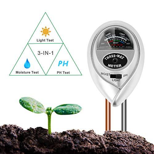 BIFY Bodentester,Boden Feuchtigkeit Meter,3 in 1 Bodentester für Feuchtigkeit/Sonnenlicht/pH-Tester für Pflanzenerde, Garten, Bauernhof, Rasen,kein Batterien erforderlich(Nur für Boden )