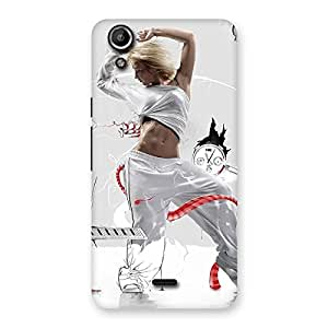 Delighted White Dance Red Ribbon Back Case Cover for Micromax Canvas Selfie Lens Q345