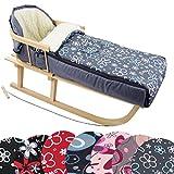 BAMBINIWELT Kombi-Angebot Holz-Schlitten mit Rückenlehne & Zugseil + universaler Winterfußsack (108cm), auch geeignet für Babyschale, Kinderwagen, Buggy, aus Wolle Design (Flowers grau)