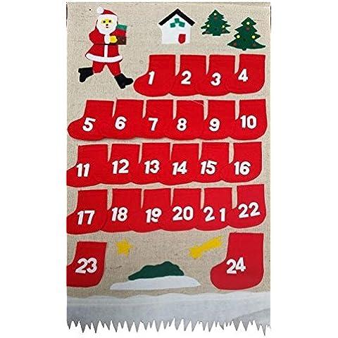 Calendario de Adviento para rellenar, yute, hecho a mano, 24Navidad Chica Joven Calendario