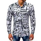 VEMOW Sommer Herbst Frühling Männer Business Hem Fashion Printed Bluse Casual Arbeit Dating Langarm Slim Shirts Tops(Mehrfarbig 8, EU-54/CN-2XL)