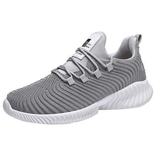 Lilicat Scarpe Running Sneakers Uomo Sport Scarpe da Ginnastica Fitness Respirabile Mesh Corsa Leggero Casual all'Aperto Sneakers(Grigio-B,45 EU)