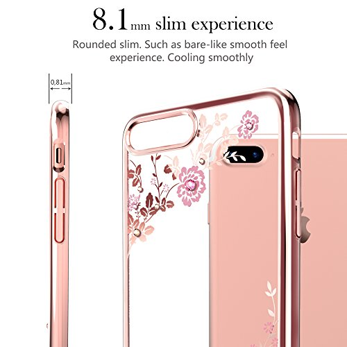 iPhone 7 Plus Hülle,Kingxbar Ultra Thin Dünn Bling Hülle Hart PC Hüllen Case Schutzhülle Premium Bling Luxus Tasche Protection Kristall Case Glitzer Protective Skin Hard Back Shinning Cover Schale Ult Flower-Rose