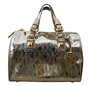 Michael Kors Grayson Medium Signature Satchel (Pale Gold)