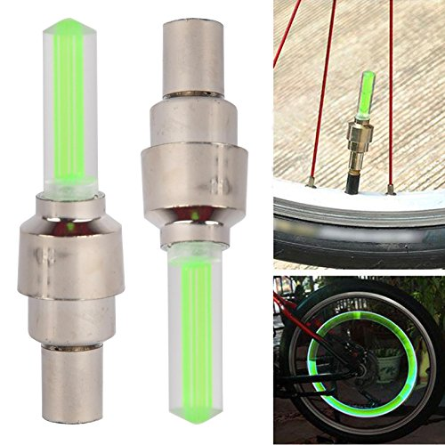 IDH 2 Stück Fahrrad Rad Reifen Ventilkappe Speichen Neon LED Licht Lampe, 4 Farbe zu wählen Grün