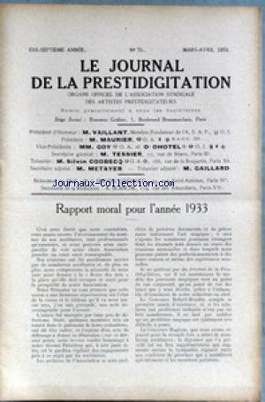 JOURNAL DE LA PRESTIDIGITATION [No 76] du 01/03/1934 - RAPPORT MORAL POUR 1933. par Collectif