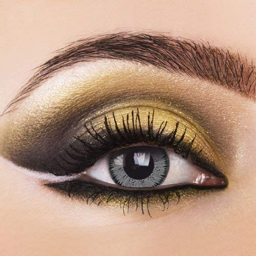 Eye-Effect Farbige Kontaktlinsen Jahreslinsen, grau / 0 Dioptrien, 2 Stück