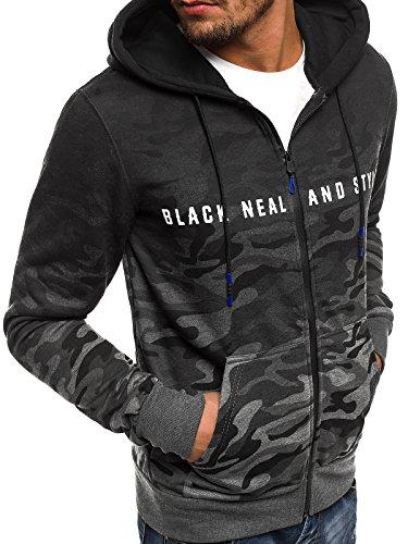 ozonee Felpa uomo felpa con cappuccio sweat maglione sportivi Pullover J. STYLE AK15 NERO_js-dd86