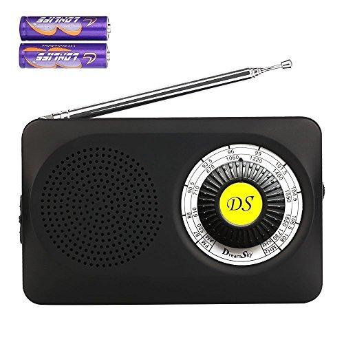 DreamSky tragebares AM / FM-Radio mit Lautsprecher, 3,5mm Kopfhörerbuchse, Radio für Schlafzimmer wandern Spazierengehen Notfälle, batteriebetrieben, Schwarz (Radio / Batterie Fm Am)