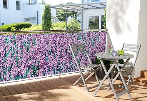 WOHNWOHL® Balkonumspannung Balkonbespannung Sichtschutz Windschutz I witterungsbeständig I 90x500 cm, Design:Flieder