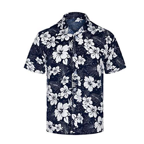 Fenverk Hawaiihemd Herren 3D Drucken Lässig Button Down Herren Flamingos Blumen Freizeit Aloha Hawaii Hemd S-5XL(Weiß,L)