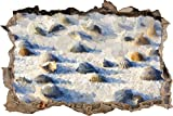 Muscheln im Sand Kunst Pinsel Effekt Wanddurchbruch im 3D-Look, Wand- oder Türaufkleber Format: 92x62cm, Wandsticker, Wandtattoo, Wanddekoration