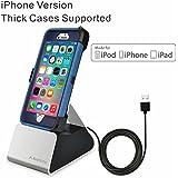 Avantree iPhone Ladestand mit Apple Mfi Lightning Kabel, Kompatibelmitdicken Hüllen, USB Data Sync iPhone Dock Ladestationfür iPhone 7, 6 plus, 5