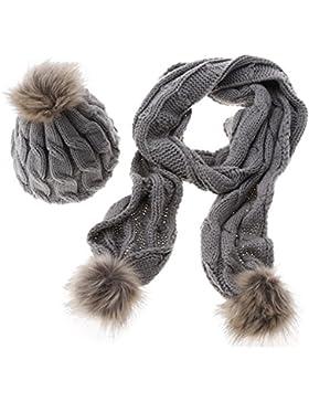 Sombrero y Bufanda Conjunto para Mujer ,TININNA Otoño Invierno Caliente Gorras Con Scarf de lana de Punto con...