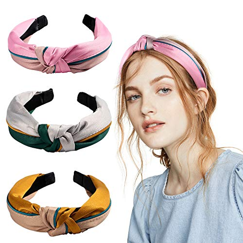 band Damen Haarband Damen Vintage Knoten Bandana Kopfband Turban Mädchen Haarreif Damen Boho Stirnbänder Breite Haarschmuck Wickeln (C) ()