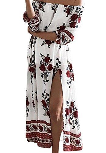 Damen Reizvoll Summer Strandkleid Carmen Ausschnitt Summerkleid Langarm Blumen Druckkleid Lässig Schlitz Blusenkleid Schulterfrei Ballkleid Rückenfrei Freizeitkleid Partykleid