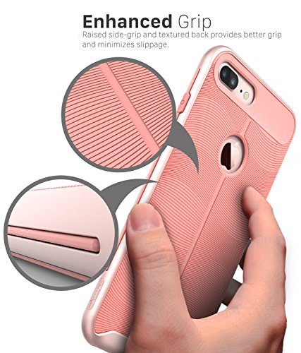 "iPhone 7 Plus hülle, Vena [vAllure] Welle Textur [Stoßstange Rahmen][CornerGuard ShockProof | Strong Grip] Hybride Slim-Fit Case Cover für Apple iPhone 7 Plus (5.5"") - Schwarz Rose Gold / Rosa"