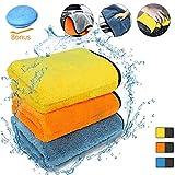 Auto Mikrofaser Poliertuch Reinigungstücher Mikrofasertücher Poliertücher Fusselfrei Bilayer extrem saugfähig Zweilagig Autopflege Mikrofasertuch Trockentuch Putztuch mit doppelter Saugkraft zum Waschen, Polieren, Trocknen