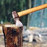Volcanid Handgemacht Spaltaxt Holz hacken Axt | Forst Axt | Outdoor and Camping Axt | Hochwertige Stahl-Klinge Holzgriff | Universal Axt Länge: 71 cm, 2.4kg