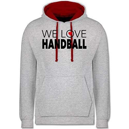 Handball - We Love Handball - Kontrast Hoodie Grau Meliert/Rot