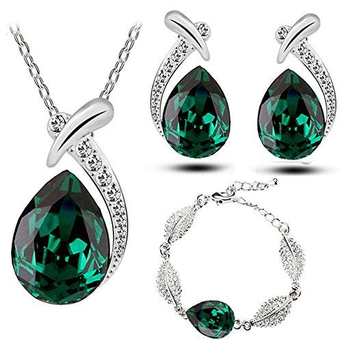 Smaragd Grün Tropfenform Schmuck-Set Ohrstecker Armband und Halskette S776