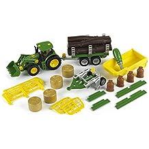 John Deere - Tractor con remolque volquete de transporte, para leña, heno y arado (Theo Klein 3907)