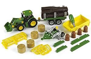 Theo Klein 3907 – Bau- und Konstruktionsspielzeug – John Deere Traktor mit Kippmulden, Transport, Holz- und Heuwagenanhänger und P