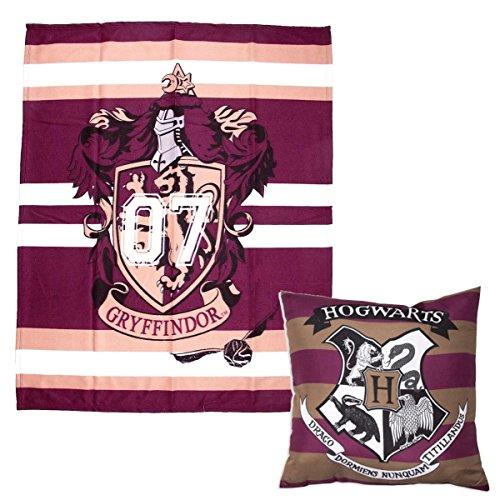 Harry-Potter-Bettwäscheset für Jungen und Mädchen, Größe: Einzelbett, Combo Deal, Cushion, Blanket (Bettdecke Wappen)