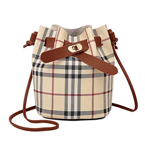 Leder Kordelzug Bucket Bag Retro-Handtaschen-Schulter-Beutel Klassisches Plaid Geldbeutel Umhängetaschen Für Frauen Mit Langen Schulterriemen (Brown) -