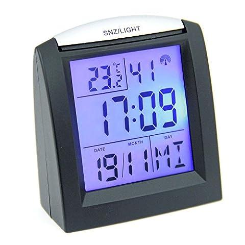 Réveil Compact Radiopiloté - 2 Alarmes - Snooze - Température