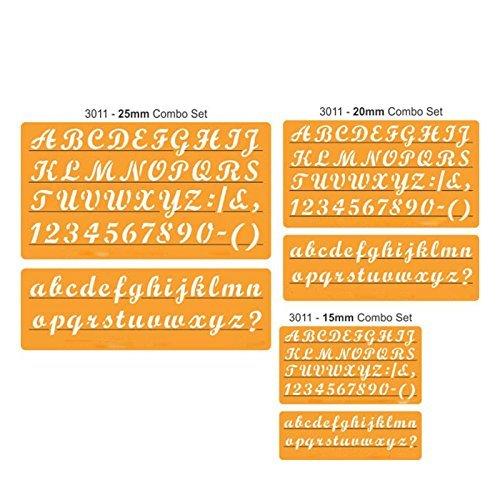 ug Schablonen für das Handwerk Englisch Schablone Alphabet Zahl Zeichnen Vorlage (unten und oben Fall Combo) (15/20mm/25mm), 15 mm ()
