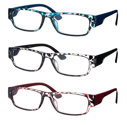 Lesebrillen im 3er-Set / Brillenform Rechteckig Brillengestell aus Kunststoff Motiv Leopard + 1