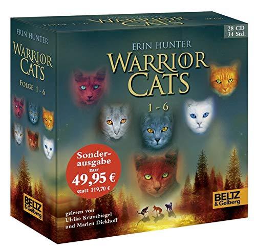 Warrior Cats 1-6: I, Folge 1-6, gelesen von Ulrike Krumbiegel und Marlen Diekhoff, Gesamtbox 28 CDs, 34 Std.5 Min. Ft-audio
