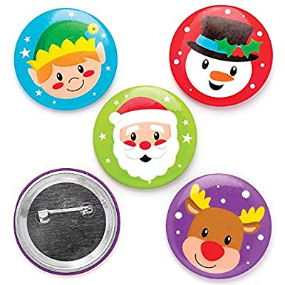 Baker Ross Christmas Badges (Pack Of 10) For Kids Fun Christmas Party Bag And Stocking Fillers
